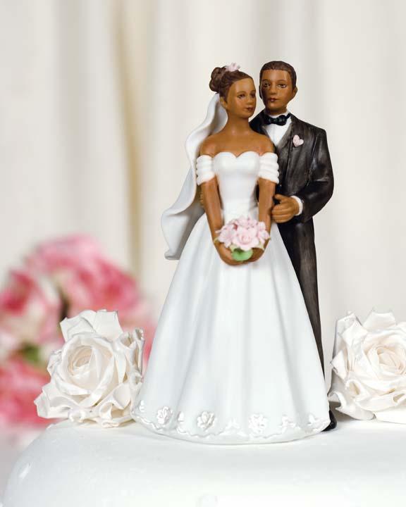 Black Couple Wedding Cake Topper